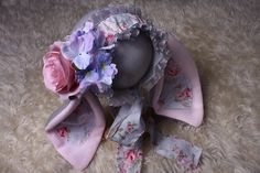 Baby Girl,Bunny Bonnet,Flower Bonnet,in grey,white+pink,with pink floral bunny ears&matching ties,Great Easter Bonnet for bunny photography Black And Gold Theme, Grey And White, Christmas Photography, Fleece Fabric, Photography Props, Ears, Bunny, Easter, Flowers