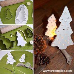 DIY Bougeoir Sapins de Noël en pâte à modeler