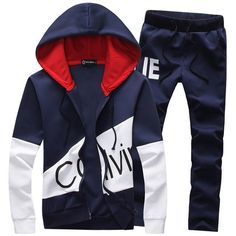 Cheap coat fashion, Buy Quality suit fashion directly from China suit style Suppliers: Fashion Style 2 Pieces Set Casual Tracksuit Men Coat 2017 Sweatshirt + Pants Sportswear Male Suit Plus Size Mens Hoodies Hoodie Sweatshirts, Men's Hoodies, Mens Sweat Suits, Running Suit, Joggers With Zippers, Herren Winter, Trend Fashion, Fashion Brand, Fashion Men