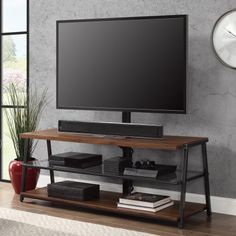 New 3 1 TV Stand Console Storage Media 70 inch Glass Shelves Wall Mount Tabletop Swivel Mount Flat Screen TV Cabinet Living Room Furniture Video Games Entertainment Center online - Topgreatidea - Trend Entertaining Ideas 2019 Console Storage, Tv Stand Console, Center Console, Tv Furniture, Living Room Furniture, Brown Furniture, Steel Furniture, Tv Entertainment Stand, Entertainment Weekly