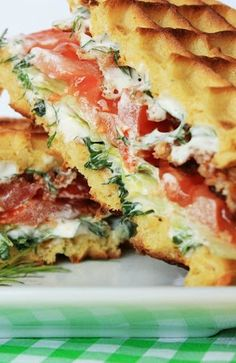 Waffle BLT with Fresh Herb Spread - these sandwiches taste AMAZING!