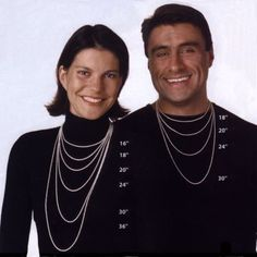 Visual reference for necklace lengths on both women and men