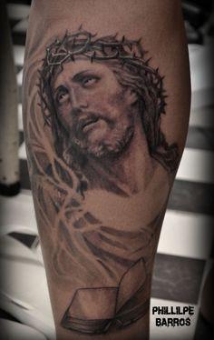 jesus cristo Tattoo tatuagem Phillipe Barros  https://www.facebook.com/phillipebarrosarte?ref=hl