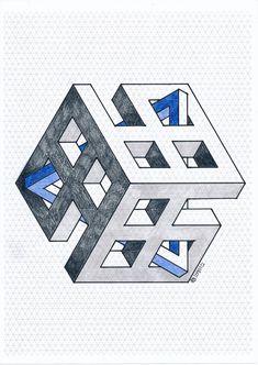 #impossible #isometric #geometry #symmetry #handmade #mathart #regolo54 #escher #oscareutersvärd #penrose #triangle #hexagon