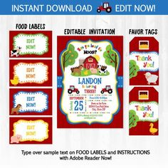 Farm Party Invitations with Food Labels & Party by SugarShebang