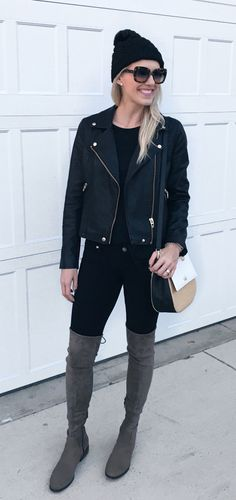 #winter #outfits women's black leather jacket. Click To Shop This Look.