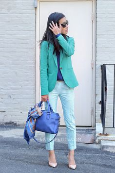 Work outfit: blazer and slim pants.  Love the scarf tied to the bag as well.
