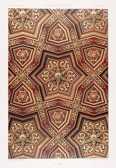 This store has SO many beautiful patterns! 1875 Chromolithograph Renaissance Ceiling Palais Justice Rouen Design Element