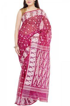 5c85add1845 Magenta   White Dhakai Cotton Jamdani Saree - Muslin Myths