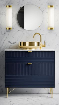 Pillar Wide Wall Light and Navy Blue and gold small vanity with marble walls and. - Pillar Wide Wall Light and Navy Blue and gold small vanity with marble walls and flooring # - Navy Bathroom, Art Deco Bathroom, Modern Bathroom Design, Bathroom Interior Design, Bathroom Designs, Bathroom Marble, Silver Bathroom, Modern Bathrooms, Master Bathrooms