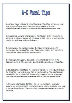 An A-Z list of vocal tips. FREE Download. A handy reference for all vocal teachers, choral directors and stud