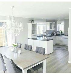 Kitchen Cabinets Decor, Kitchen Room Design, Home Room Design, Modern Kitchen Design, Home Decor Kitchen, Interior Design Kitchen, Home Kitchens, Living Room Designs, Open Plan Kitchen Dining Living