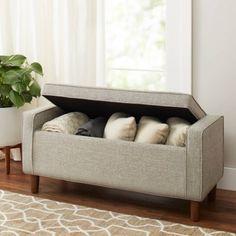 Better Homes and Gardens Flynn Mid Century Modern Upholstered Storage Bench, Ash