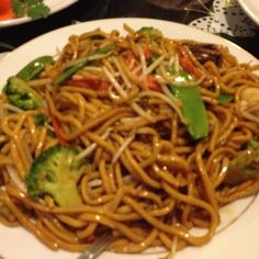 Lo mein, especially with the Japanese hibachi sauce and sesame seeds