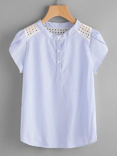 Blue Pinstriped Band Collar Eyelet Embroidered Petal Sleeve Blouse