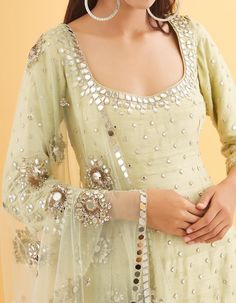 Mint Green Raw Silk with Net Mirror and Sequin Heavily Embroidered Kurta Set Mirror Work Kurti, Mirror Work Dress, Designer Party Wear Dresses, Kurti Designs Party Wear, Indian Wedding Outfits, Indian Outfits, Mirror Blouse Design, Stylish Dresses, Dresses For Work