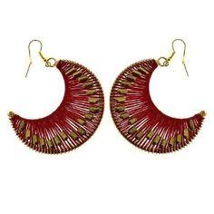 Boucles d'oreilles - Croissant de lune doré et tissage rouge: ShalinCraft: Amazon.fr: Bijoux
