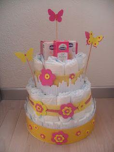 fairyscrappina: TORTA PRIMAVERA  Una torta di pannolini a tema pri...