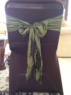 Chocolate Spandex Chair Covers With Willow Green Crinkled Taffeta Sashes