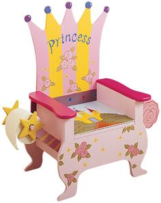 Princess Potty Chair. A princess needs to have an eloquent seat! This hand painted potty chair portrays the princess theme, as well as a toilet paper holder and magazine holder!