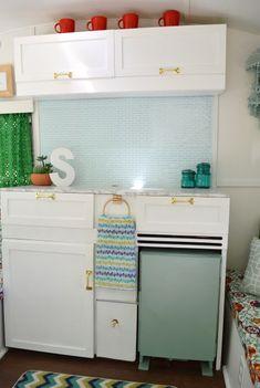 Vintage Caravan Camper Makeover - kitchen cupboards fridge