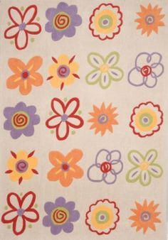 Παιδικά χαλιά Klonaras Home Fashion - Εκρού πολύχρωμα λουλούδια