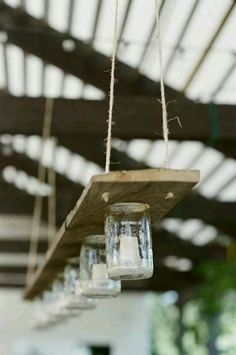 Mason jar lighting #rustic #diy