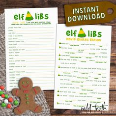 """Product Summary Instant Download—Download, print, & play in just minutes. And all party planning procrastinators said, """"amen."""" Elf Movie QuotesMad..."""