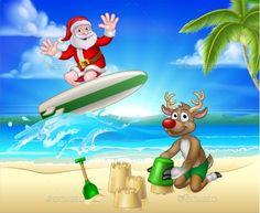 Santa Claus and Reindeer Christmas Beach Scene #Reindeer, #Claus, #Santa, #Scene