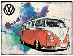 Metal Wall Sign – VW Camper Grunge - Red Design & appeal: An official licenced Volkswagen product, created in-house by Red Hot Lemon. A metal wall sign which features the iconic VW Campervan and grung