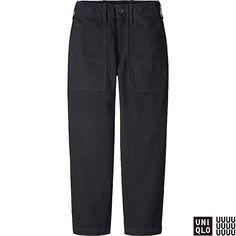 WOMEN U WIDE LEG TAPERED CARGO ANKLE LENGTH PANTS, BLACK, large