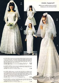 1967 bridal fashions.....the model on the left sure looks like Marlo Thomas in That Girl.