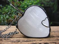 Love necklace selenite moon love shiny stone large pendant massive stone retro charms pendant antique necklace luminous gift  FREE SHIPPING! by GepArtJewellery on Etsy