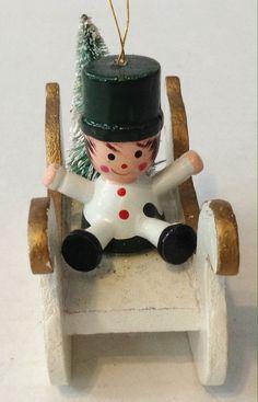 Vintage Wooden Boy On Sleigh Christmas Ornament