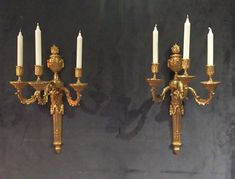 Pair of very fine, French, Louis XVI period sconces: In bronze d'ore with three arms. Antique Lamps, Antique Lighting, Sconce Lighting, French Chandelier, Italian Chandelier, Victorian Furniture, Antique Furniture, French Interiors, Classic Interior