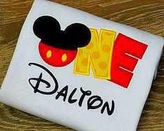 Monogrammed Disney - Inspired -  Mickey Mouse 1st First Birthday Vacation Applique Shirt Onesie Bodysuit Boy