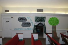 """Camp Courageous VBS - entrance to the """"Christian Climbers"""" class"""