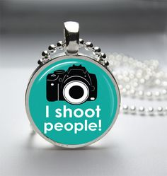 1in Circle Glass Bezel Pendant - I Shoot People Camera Photography - Free Ball Chain Necklace. $7.00, via Etsy.