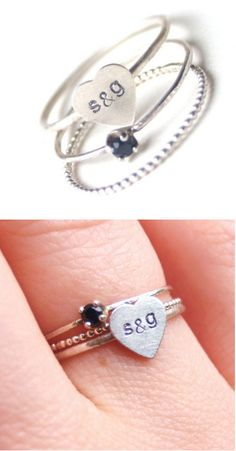 Custom Lower Case Initial Sweetheart Stacking Rings ♥ this would be a great anniversary gift  so simple and cute
