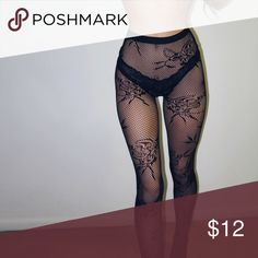 Baroque Floral Lace Tights Classy fishnet tights, one size fits all Other