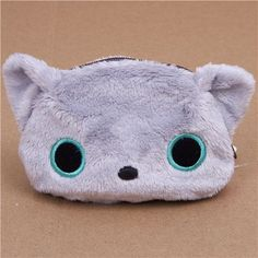 grey Kutusita Nyanko cat plush pouch wallet