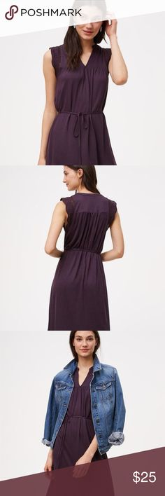 LOFT Crochet Flutter Swing Dress NWT Brand new, never worn LOFT Crochet Flutter Swing Dress in size XS, plum/dark purple color. NWT. sold out online and in stores. LOFT Dresses