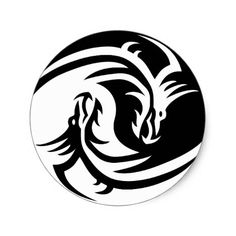 Tribal Dragon Yin Yang - a perfect blend of neo-tribal modern design with the ancient Taoist symbolism of the Yin Yang using a black and white color scheme Yin Yang, Leather Carving, Tribal Tattoo Designs, Tribal Tattoos, Tatoos, Zentangle, Tatuaje Trash Polka, Hard Hat Stickers, Round Stickers