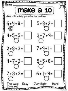 First Grade Math Unit 12 Adding 3 Numbers Adding 3 numbers worksheets and centers - great for practicing 3 addends Math Classroom, Kindergarten Math, Teaching Math, Teaching Geography, First Grade Math Worksheets, Second Grade Math, Eureka Math, Math Addition, First Grade Addition
