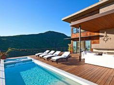 Outdoor Pool and Wood Deck with Mountain View