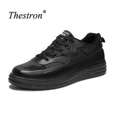 Thestron Walking Shoes For Boys Black White Mans Athletic Shoes Autumn Male Sport Shoes Anti-Slip Walking Shoes Men