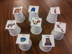 "Hidden Cups Articulation Idea. Materials: small cups, articulation cards, a few objects. Put the few objects underneath random cups, and put the articulation cards on top of the cups. Client must say, ""Is it under the ____"" so he/she practices target sound before looking under the cups. http://speechymusings.wordpress.com/2012/12/07/a-semester-of-articulation-therapy-ideas/#"