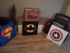 Super hero wall art. How clever is my dad for making these.! Now I need to get my boys themed bedroom sorted
