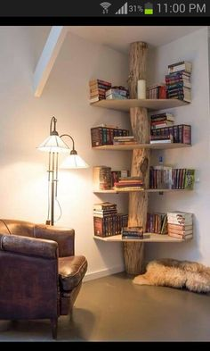 Beautiful log corner shelf
