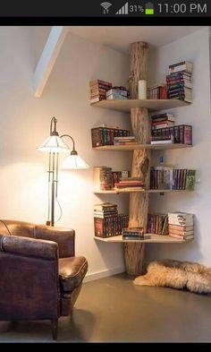 Beautiful log corner shelf